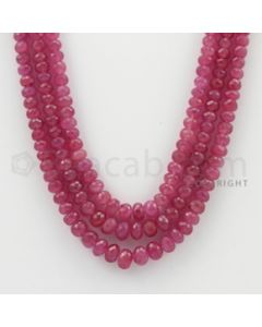 4.20 to 7.00 mm - Pink Sapphire Faceted Beads - 385.60 Carats - 3 Lines (PnSFB1032)