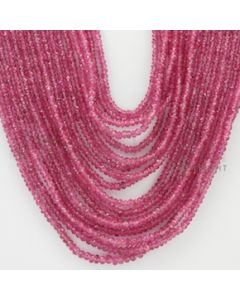 2.00 to 3.00 mm - Pink Sapphire Faceted Beads - 539.00 Carats - 17 Lines (PnSFB1035)