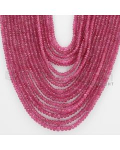 2.00 to 4.80 mm - Pink Sapphire Faceted Beads - 639.90 Carats - 16 Lines (PnSFB1036)