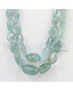 10.00 to 28.00 mm - Aquamarine Tumbled Beads - 853.00 Carats - 2 Lines (AqTuB1008)