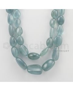 16.00 to 28.00 mm - Aquamarine Tumbled Beads - 726.00 Carats - 2 Lines (AqTuB1011)