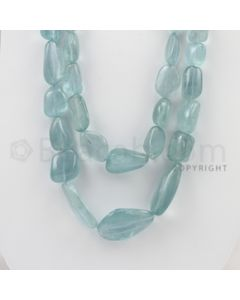 14.00 to 34.00 mm - Aquamarine Tumbled Beads - 862.10 Carats - 2 Lines (AqTuB1013)