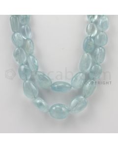 10.00 to 19.00 mm - Aquamarine Tumbled Beads - 434.00 Carats - 2 Lines (AqTuB1019)