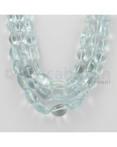 7.00 to 17.00 mm - Aquamarine Tumbled Beads - 609.00 Carats - 3 Lines (AqTuB1021)