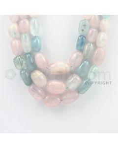 7.00 to 20.00 mm - Aquamarine, Morganite Tumbled Beads - 1020.45 Carats - 3 Lines (MAqTuB1001)