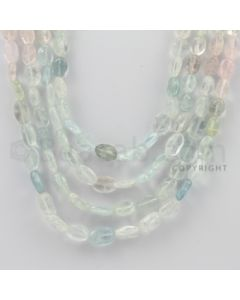 8.00 to 12.00 mm - Aquamarine, Morganite Tumbled Beads - 430.00 Carats - 4 Lines (MAqTuB1024)