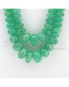 6.25 to 17.50 mm - 2 Lines - Emerald Smooth Beads - 20 to 21 inches (EmSB1003)