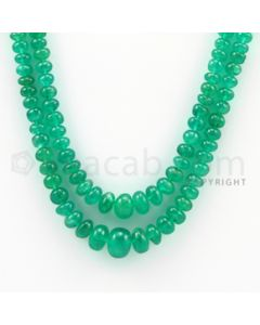 4.50 to 9.50 mm - 2 Lines - Emerald Smooth Beads - 12 to 13 inches (EmSB1010)