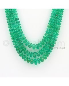 3.00 to 8.50 mm - 3 Lines - Emerald Smooth Beads - 17 to 19 inches (EmSB1012)