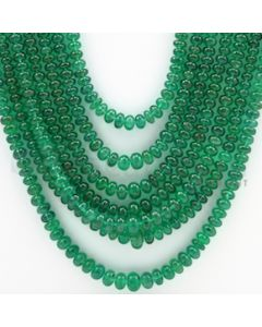 3.00 to 6.00 mm - 2 Lines - Emerald Smooth Beads - 25 to 30 inches (EmSB1016)