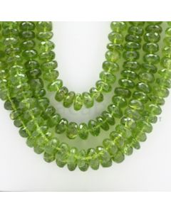 8.00 to 10.00 mm - 4 Lines - Peridot Faceted Roundel Beads - 24 to 27 inches (PFRo1002)
