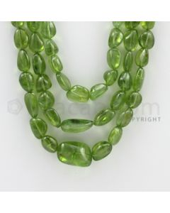 6.50 to 20.00 mm - 3 Lines - Peridot Smooth Tumbled Beads - 20 to 22 inches (PSTu1004)