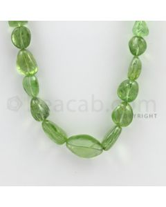 9.00 to 20.00 mm - 1 Line - Peridot Smooth Tumbled Beads - 22 inches (PSTu1005)