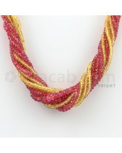 2.50 to 5.00 mm - 10 Lines - Spinel and Yellow Sapphire Faceted Beads Necklace - 17.50 inches (CSNKL1040)