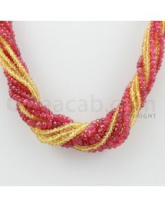 2.00 to 5.00 mm - 10 Lines - Spinel and Yellow Sapphire Faceted Beads Necklace - 17.50 inches (CSNKL1041)
