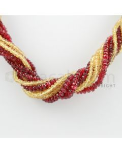 2.50 to 5.00 mm - 10 Lines - Spinel and Yellow Sapphire Faceted Beads Necklace - 17.25 inches (CSNKL1043)