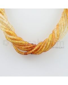 3.50 to 4.00 mm - 10 Lines - Yellow Sapphire, White Sapphire Smooth Beads Necklace - 17.50 inches (CSNKL1046)