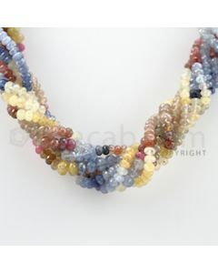 5.00 to 7.00 mm - 7 Lines - Multi-Sapphire Faceted Beads Necklace - 17.50 inches (CSNKL1049)