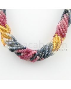 3.50 to 4.00 mm - 10 Lines - Multi-Sapphire Faceted Beads Necklace - 18.25 inches (CSNKL1050)