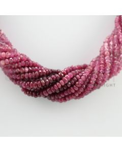 3.50 to 4.25 mm - 15 Lines - Ruby Faceted Beads Necklace - 17 inches (CSNKL1055)
