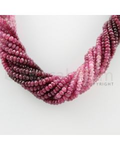 4.00 to 4.50 mm - 13 Lines - Ruby Faceted Beads Necklace - 17.25 inches (CSNKL1056)