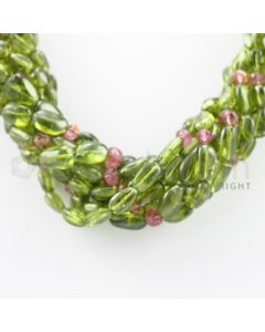 7.50 to 13.50 mm - 8 Lines - Peridot, Tourmaline Tumbled Beads Necklace - 17 inches (CSNKL1065)