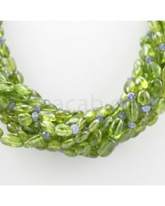 8.50 to 12.50 mm - 11 Lines - Peridot, Tanzanite Tumbled Beads Necklace - 16.50 inches (CSNKL1068)