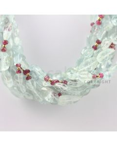 9.50 to 20.00 mm - 9 Lines - Aquamarine, Tourmaline Tumbled Beads Necklace - 17 inches (CSNKL1069)