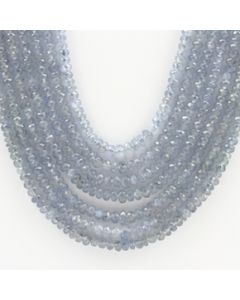2.50 to 4.00 mm - 7 Lines - Sapphire Faceted Roundel Beads - 21 to 24 inches (SFRoB1014)