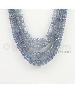 2.50 to 9.00 mm - 4 Lines - Sapphire Faceted Roundel Beads - 14 to 17 inches (SFRoB1017)