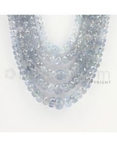 2.50 to 9.00  mm - 5 Lines - Sapphire Faceted Roundel Beads - 16 to 20 inches (SFRoB1021)