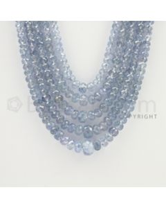 2.50 to 9.00 mm - 5 Lines - Sapphire Faceted Roundel Beads - 16 to 20 inches (SFRoB1023)