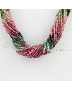 2.50 to 2.80 mm - 16 Lines - Tourmaline Faceted Beads - 15 inches (MuToFB1004)