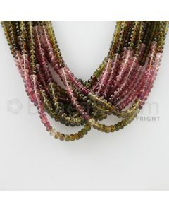 3.00 to 4.70 mm - 14 Lines - Tourmaline Faceted Beads - 17 inches (MuToFB1007)