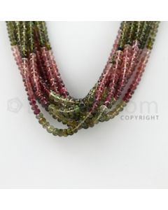 3.10 to 5.00 mm - 11 Lines - Tourmaline Faceted Beads - 17 inches (MuToFB1019)