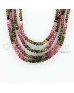 3.00 to 5.00 mm - 4 Lines - Tourmaline Faceted Beads - 15 to 17 inches (MuToFB1031)