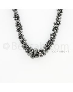 4.50 to 10.30 mm - 1 Line - Black Diamond Drop Beads - 22 inches (DiaDrp1019)