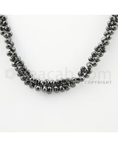 4.50 to 6.00 mm - 1 Line - Black Diamond Drop Beads - 11 inches (DiaDrp1025)
