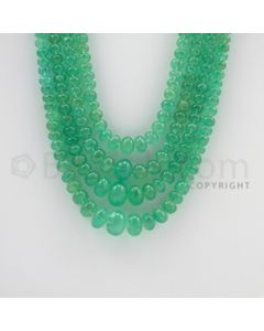 4.20 to 12.00 mm - 4 Lines - Emerald Smooth Beads - 18 to 21 inches (EmSB1033)