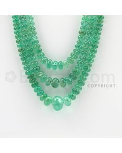 4.50 to 13.00 mm - 3 Lines - Emerald Smooth Beads - 11 to 14 inches (EmSB1034)