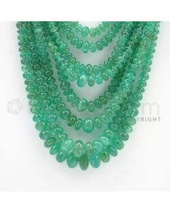 3.50 to 11.70 mm - 8 Lines - Emerald Smooth Beads - 22 to 29 inches (EmSB1036)