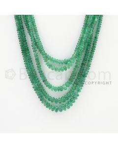 2.00 to 6.00 mm - 5 Lines - Emerald Smooth Beads - 28 to 31 inches (EmSB1038)