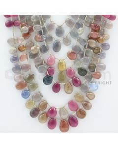 5.00 to 12.50 mm - 7 Lines - Multi-Sapphire Pear Drops - 16 to 24 inches (MSPD1003)