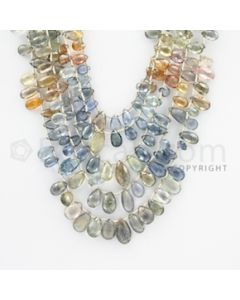 6.00 to 12.50 mm - 5 Lines - Multi-Sapphire Pear Drops - 15 to 20 inches (MSPD1009)