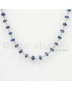 3.80 to 4.50 mm - 1 Line - Blue Sapphire Faceted Beads Gold Wire Wrap Necklace - 18 inches (GWWCS1007)