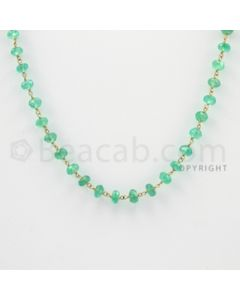3.20 to 4.50 mm - 1 Line - Emerald Faceted Beads Gold Wire Wrap Necklace - 18 inches (GWWCS1011)