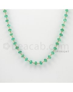 3.40 to 4.50 mm - 1 Line - Emerald Faceted Beads Gold Wire Wrap Necklace - 18 inches (GWWCS1012)