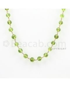 5.50 to 6.00 mm - 1 Line - Peridot Faceted Beads Gold Wire Wrap Necklace - 18 inches (GWWCS1016)