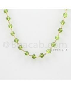 5.80 mm - 1 Line - Peridot Faceted Beads Gold Wire Wrap Necklace - 18 inches (GWWCS1017)