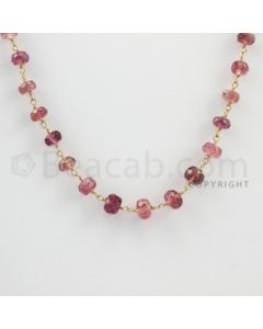 4.50 to 5.50 mm - 1 Line - Tourmaline Faceted Beads Gold Wire Wrap Necklace - 18 inches (GWWCS1028)